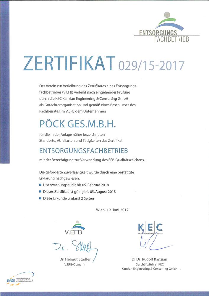 Pöck's Entsorgungsfachbetrieb-Zertifikat