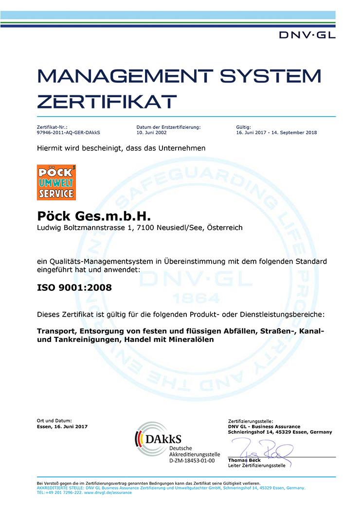 Zertifikat Qualitätsmanagement System der Pöck GmbH